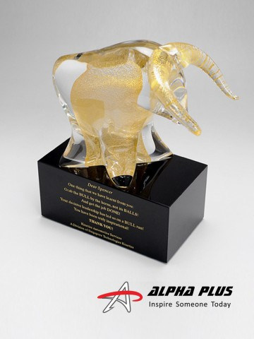 Gold Bull on black base