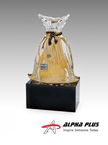 Gold Bag on Black Crystal Base
