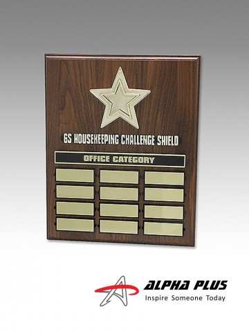 Perpetual Walnut Plaque - Gold Star